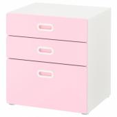 СТУВА / ФРИТИДС Комод с 3 ящиками, белый, светло-розовый, 60x64 см