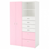 СТУВА / ФРИТИДС Шкаф платяной, белый, светло-розовый, 120x50x192 см