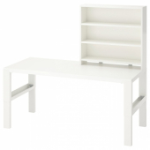 ПОЛЬ Письменн стол с полками, белый, 128x58 см