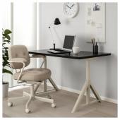ИДОСЕН Письменный стол, черный, бежевый, 120x70 см