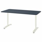 БЕКАНТ Письменный стол, линолеум синий, белый, 160x80 см
