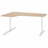 БЕКАНТ Углов письм стол левый, дубовый шпон, беленый, белый, 160x110 см