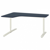 БЕКАНТ Углов письм стол левый, линолеум синий, белый, 160x110 см