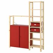 ИВАР Стеллаж со шкафами/ящиками, сосна, красный, 134x30x179 см