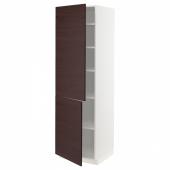 МЕТОД Высокий шкаф с полками/2 дверцы, белый Аскерсунд, темно-коричневый под ясень, 60x60x200 см
