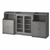 ХАУГА Комбинация д/хранения, серый, 244x46x116 см