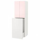 СМОСТАД Гардроб с выдвижным модулем, белый бледно-розовый, с платяной штангой, 60x55x196 см