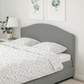 ХАУГА Кровать с обивкой,4 кроватных ящика, Висле серый, 160x200 см