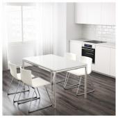 ТОРСБИ Стол, хромированный, стекло белый, 120x70 см
