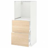 МЕТОД Высокий шкаф с 2 ящиками д/духовки, белый, Аскерсунд под светлый ясень, 60x60x140 см