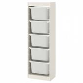 ТРУФАСТ Комбинация д/хранения+контейнеры, белый, белый, 46x30x145 см
