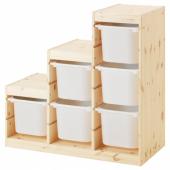 ТРУФАСТ Комбинация д/хранения, светлая беленая сосна, белый, 94x44x91 см