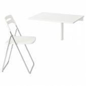 НОРБЕРГ / НИССЕ Стол и 1 стул, белый, хромированный белый, 74 см