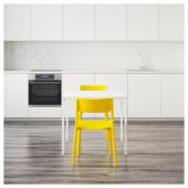 ВАНГСТА / ЯН-ИНГЕ Стол и 2 стула, белый, желтый, 80/120 см