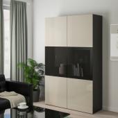 БЕСТО Комбинация д/хранения+стекл дверц, черно-коричневый, Сельсвикен глянцевый/бежевый/дымчатое стекло, 120x40x192 см