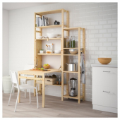 ИВАР 2 секции д/хранения+складной столик, 134x30-104x226 см