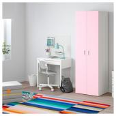 СТУВА / ФРИТИДС Гардероб, белый, светло-розовый, 60x50x192 см
