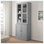 ХАВСТА Комбинация для хранения с сткл двр, серый, 81x47x212 см