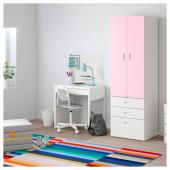СТУВА / ФРИТИДС Шкаф платяной, белый, светло-розовый, 60x50x192 см