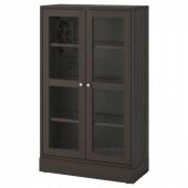 ХАВСТА Шкаф-витрина с цоколем, темно-коричневый, прозрачное стекло, 81x37x134 см
