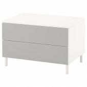 ОПХУС Комод с 2 ящиками, белый, Скатваль светло-серый, 80x57x53 см