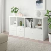 КАЛЛАКС Стеллаж с 4 вставками, глянцевый/белый, 77x147 см