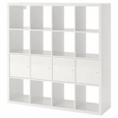 КАЛЛАКС Стеллаж с 4 вставками, глянцевый/белый, 147x147 см