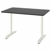 БЕКАНТ Письменный стол, ясеневый шпон/черная морилка, белый, 120x80 см
