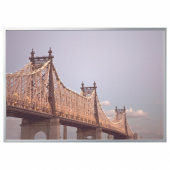 БЬЁРКСТА Картина с рамой, мост, цвет алюминия, 200x140 см