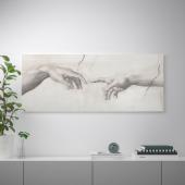БЬЁРКСТА Картина с рамой, Прикосновение, цвет алюминия, 140x56 см