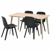 ЛИСАБО / ОДГЕР Стол и 4 стула, ясеневый шпон, антрацит, 140x78 см