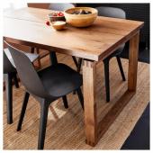 МОРБИЛОНГА / ОДГЕР Стол и 4 стула, дубовый шпон коричневая морилка, антрацит, 140x85 см