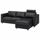 ВИМЛЕ 3-местный диван, с козеткой с изголовьем, Гранн/Бумстад черный