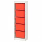 ТРУФАСТ Комбинация д/хранения+контейнеры, белый, оранжевый, 46x30x145 см