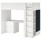 СМОСТАД Кровать-чердак, белый поверхность доски для записей, с письменным столом с 3 ящиками, 90x200 см