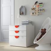 СМОСТАД / ОПХУС Комод с 3 ящиками, белый, белый, 60x55x63 см