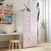 СМОСТАД / ОПХУС Комод с 6 ящиками, белый, бледно-розовый, 60x55x123 см
