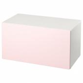 СМОСТАД Скамья с отделением для игрушек, белый, бледно-розовый, 90x50x48 см