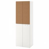 СМОСТАД / ОПХУС Гардероб, белый пробка, с 2 платяными штангами, 60x40x180 см