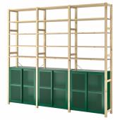ИВАР 3 секции/шкаф/полки, сосна, зеленый сетка, 259x30x226 см