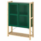 ИВАР 1 секция/полки/шкаф, сосна, зеленый сетка, 89x30x124 см