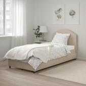ХАУГА Кровать с обивкой,2 кроватных ящика, Лофаллет бежевый, 90x200 см