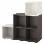 ЭКЕТ Комбинация шкафов с ножками, белый/темно-серый, светло-серый, 105x35x107 см