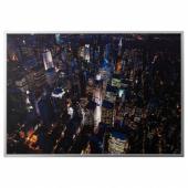 БЬЁРКСТА Картина с рамой, Огни Нью-Йорка, цвет алюминия, 200x140 см