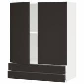 МЕТОД / МАКСИМЕРА Навесной шкаф/2дверцы/2ящика, белый, Кунгсбакка антрацит, 80x100 см