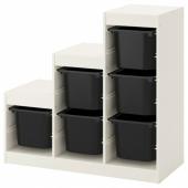 ТРУФАСТ Комбинация д/хранения, белый, черный, 99x44x94 см