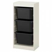 ТРУФАСТ Комбинация д/хранения+контейнеры, белый, черный, 46x30x94 см