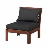 ЭПЛАРО Садовое легкое кресло, коричневая морилка, Холло черный, 63x80x78 см