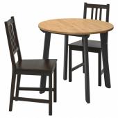 ГАМЛАРЕД / СТЕФАН Стол и 2 стула, светлая морилка антик, коричнево-чёрный