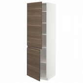 МЕТОД Высокий шкаф с полками/2 дверцы, белый, Воксторп грецкий орех, 60x60x200 см